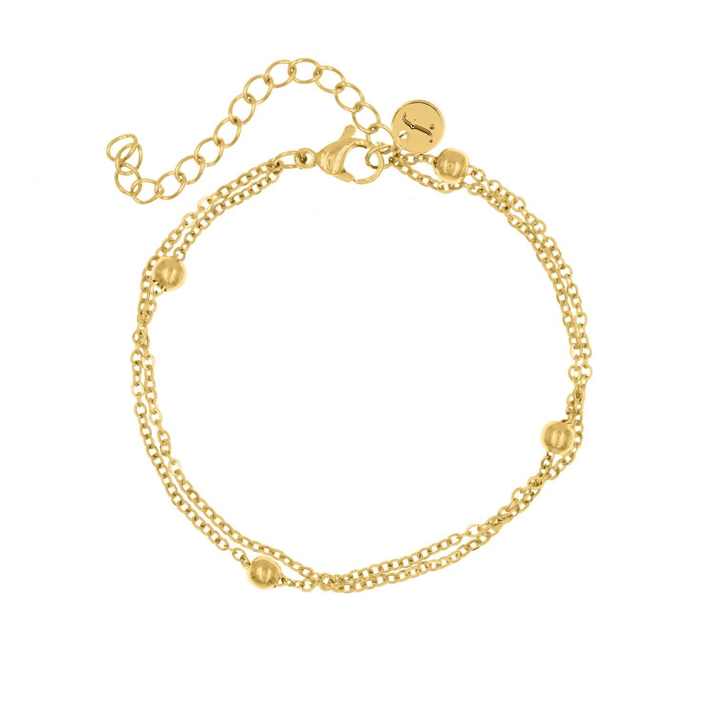 Dubbele gouden armband met bolletjes