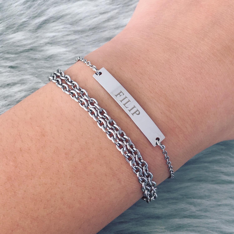 Graveerbare zilveren bar armband met schakelarmbandje