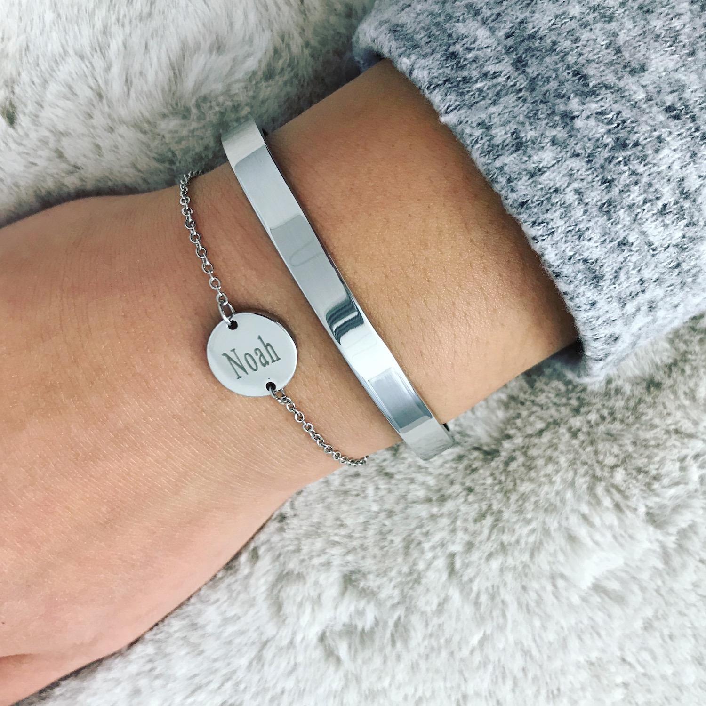 Finaste graveerbare armband met ronde bedel zilver
