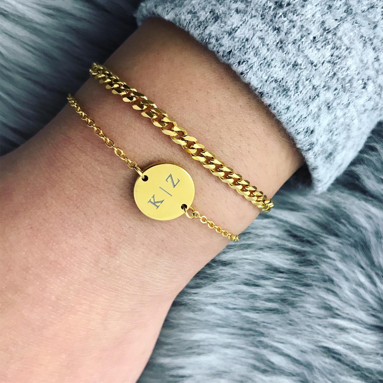 Graveerbare armband goud met persoonlijke tekst gratis gegraveerd