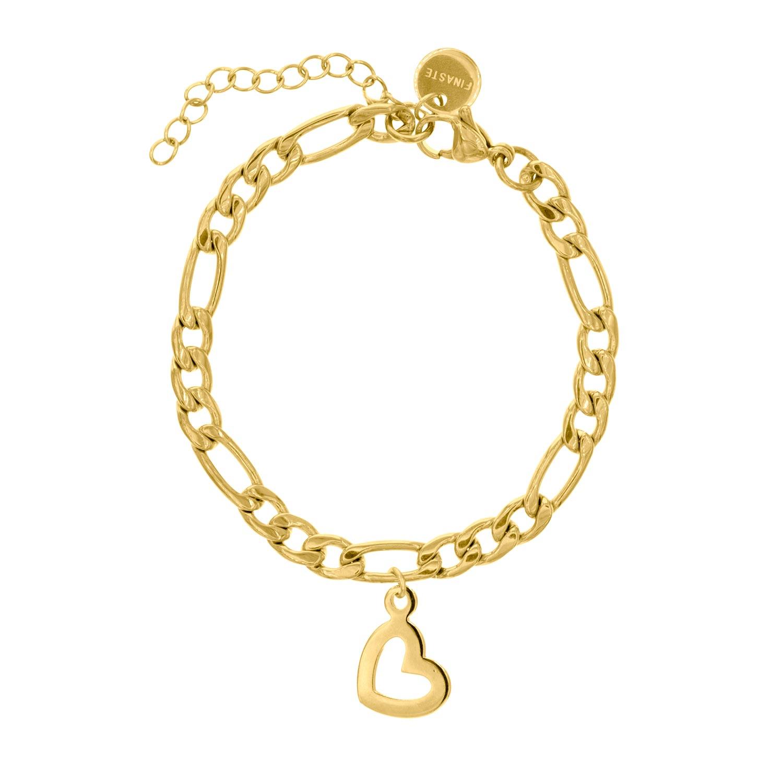Gouden schakelarmband met hartje