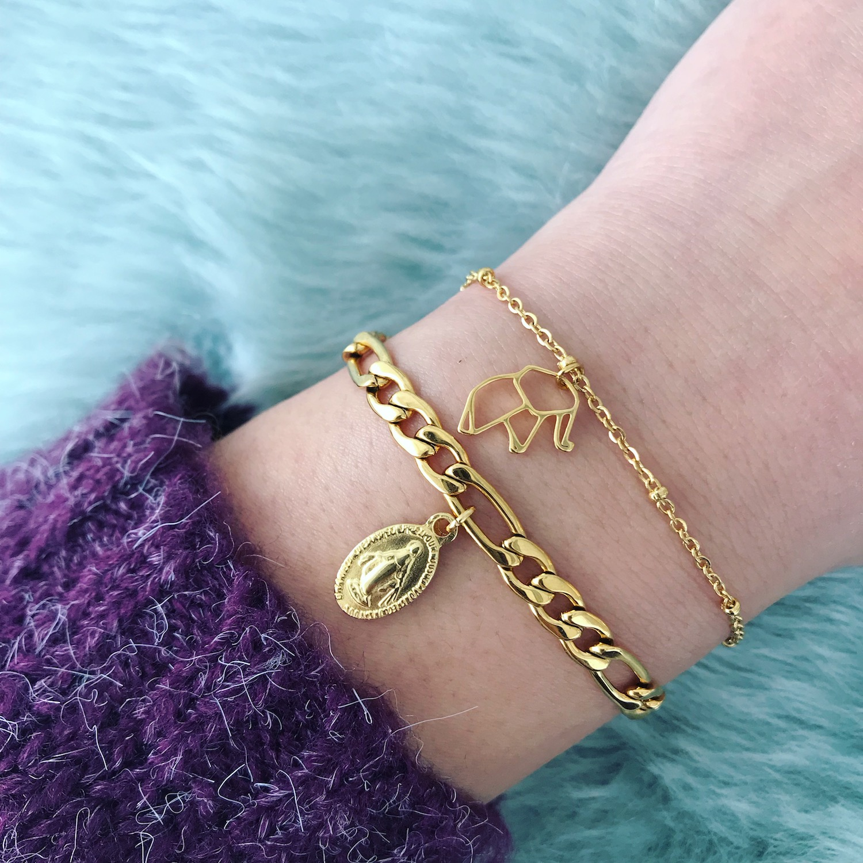 Gouden schakelarmband met origami olifant armbandje