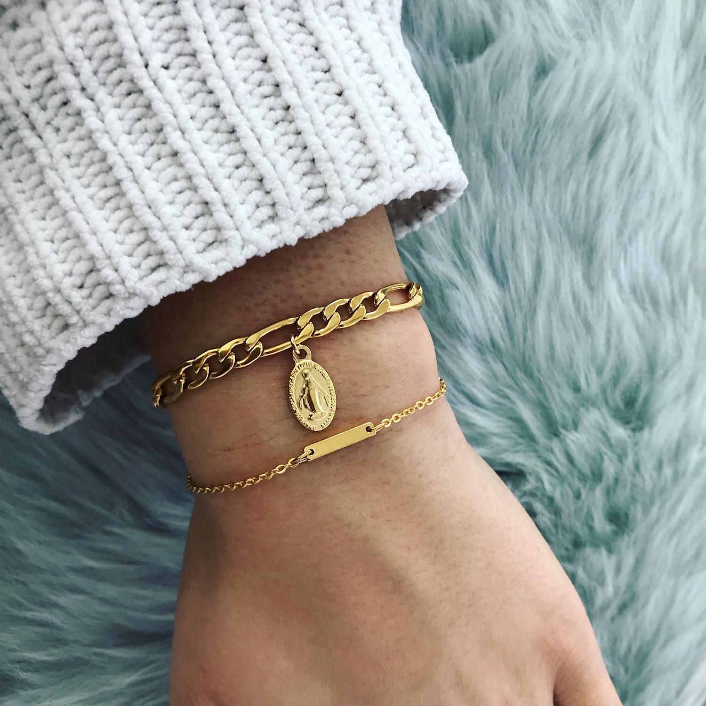 Gouden Maria armband met bar armbandjes