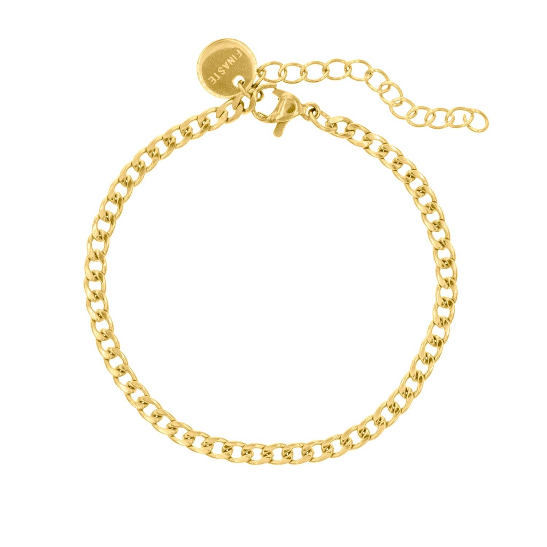 Gouden schakelarmband subtiel met platte schakel