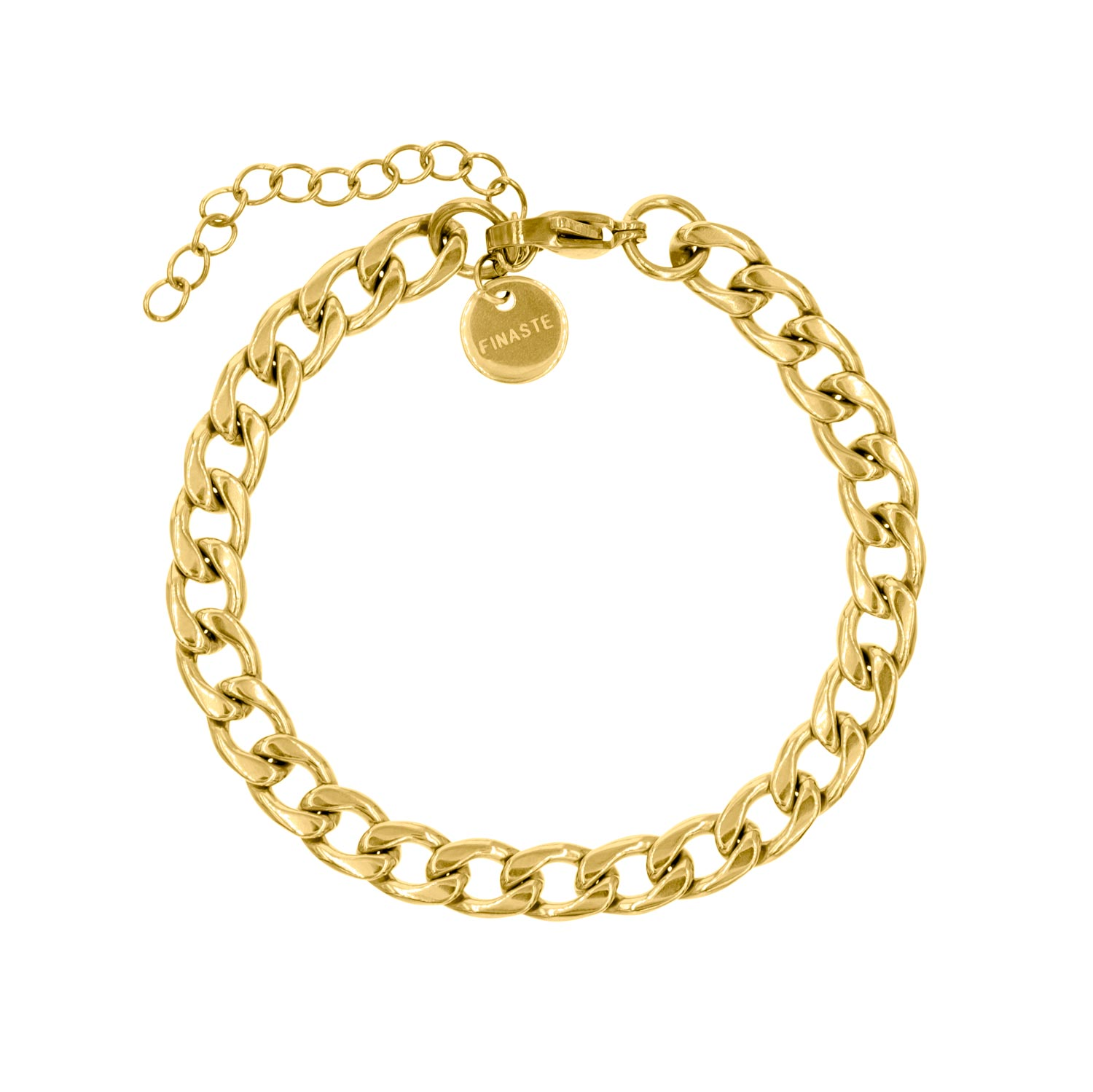Gouden grove armband met chains