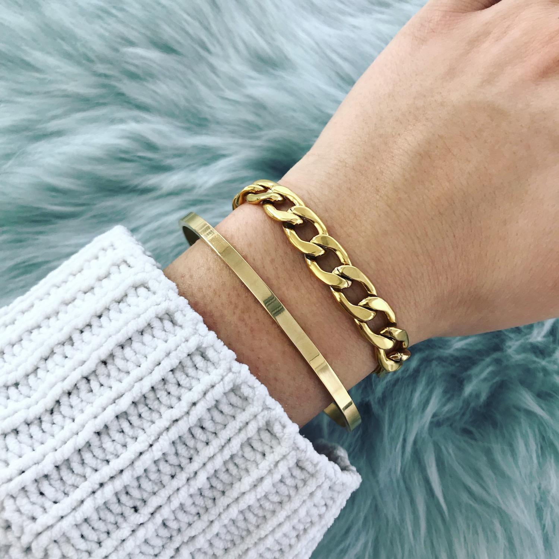 Gouden Chain armband gecombineerd met bangle