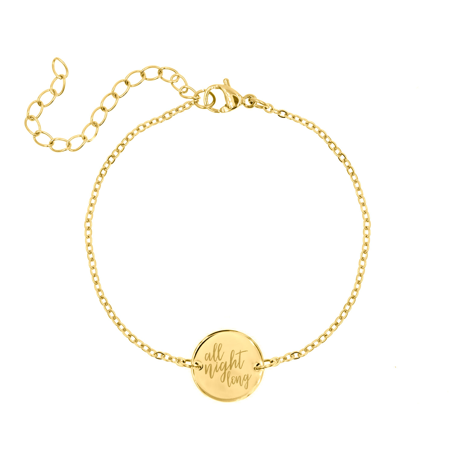 Gouden quote armband all night long