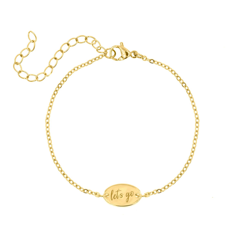 Gouden quote armband met let's go