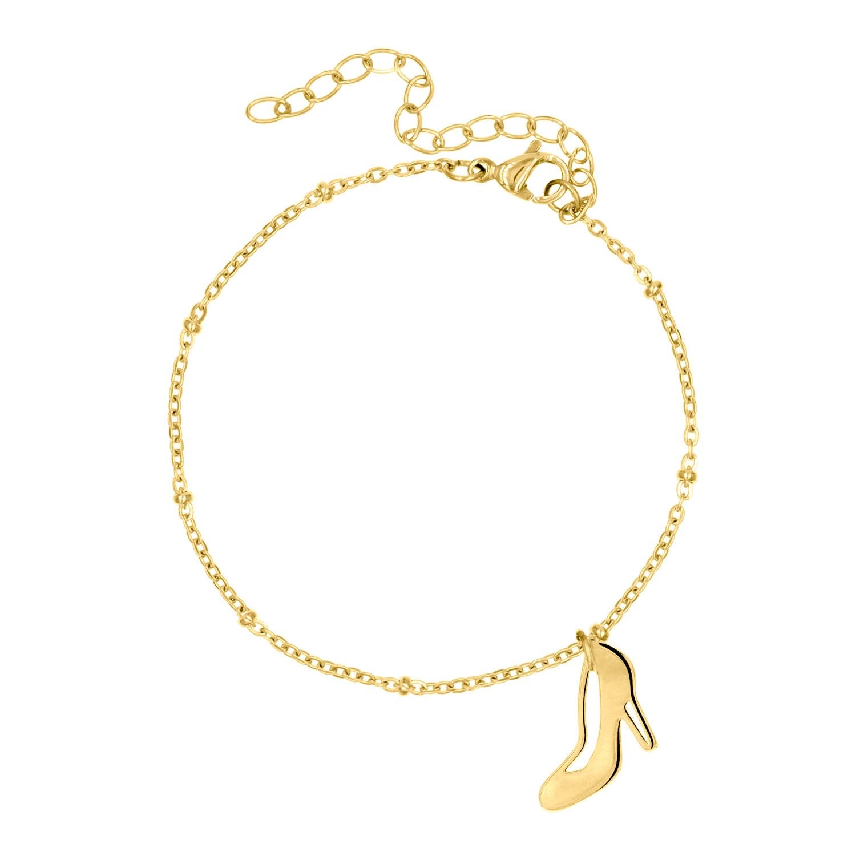 Gouden party armband met high heel