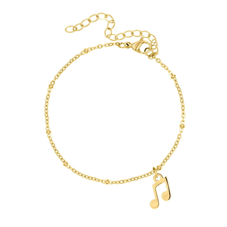 Gouden party armband met muzieknoot