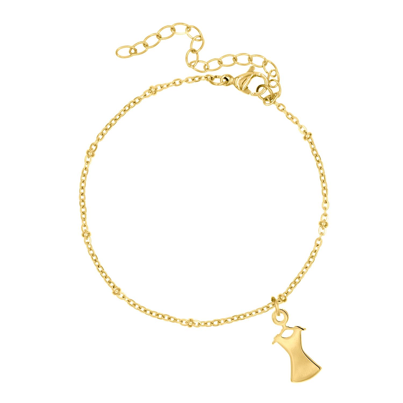 Gouden party armbandje met jurkje