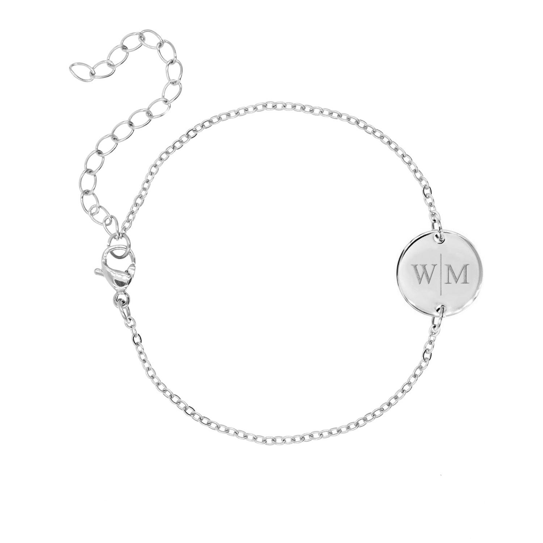 Graveerbare Armband met Twee Initialen Zilver