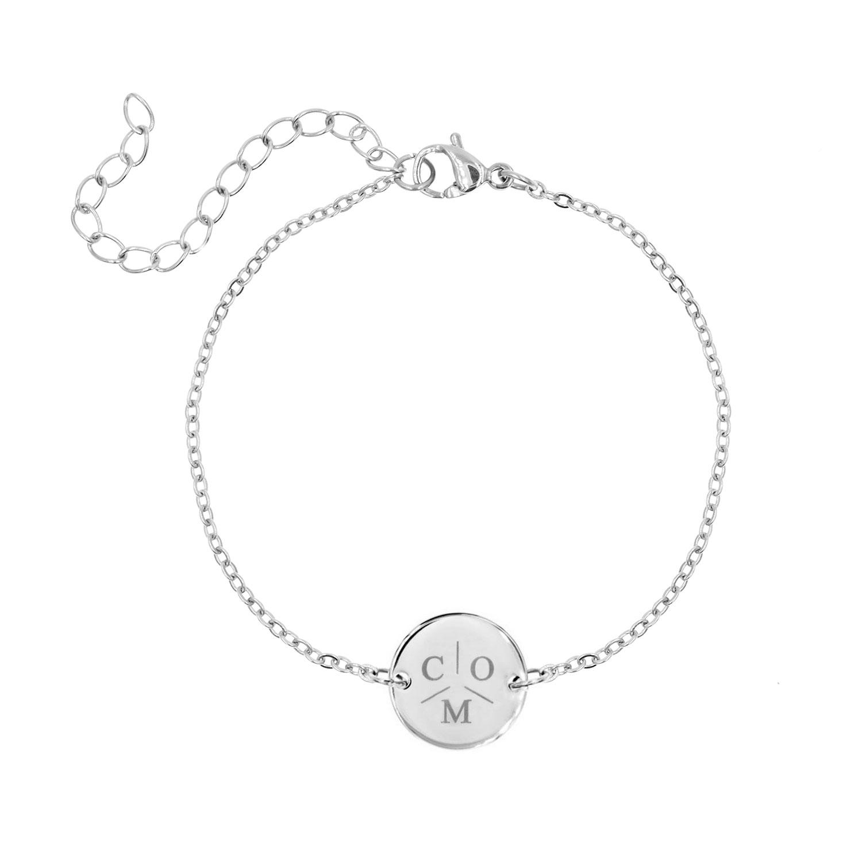 Graveerbare Armband met Drie Initialen Zilver