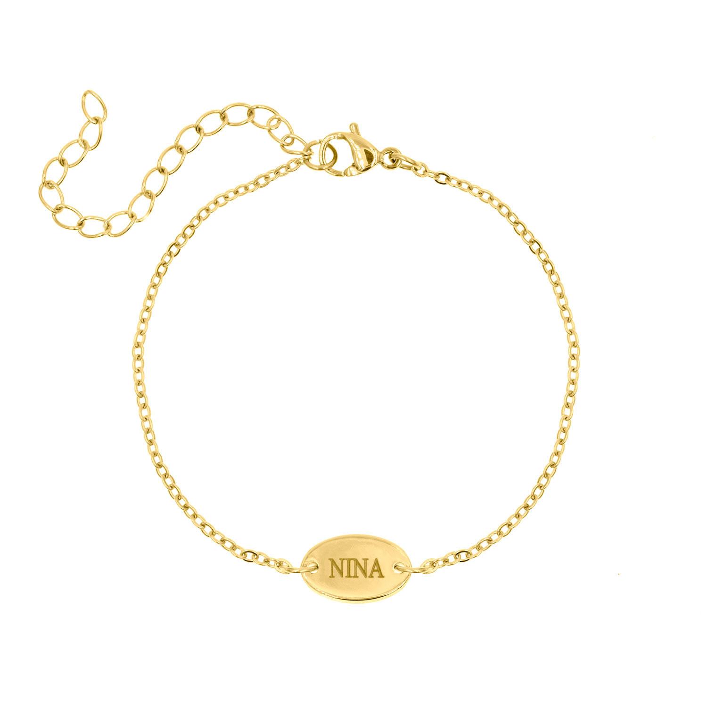 Graveerbaar armbandje met ovaal muntje goud
