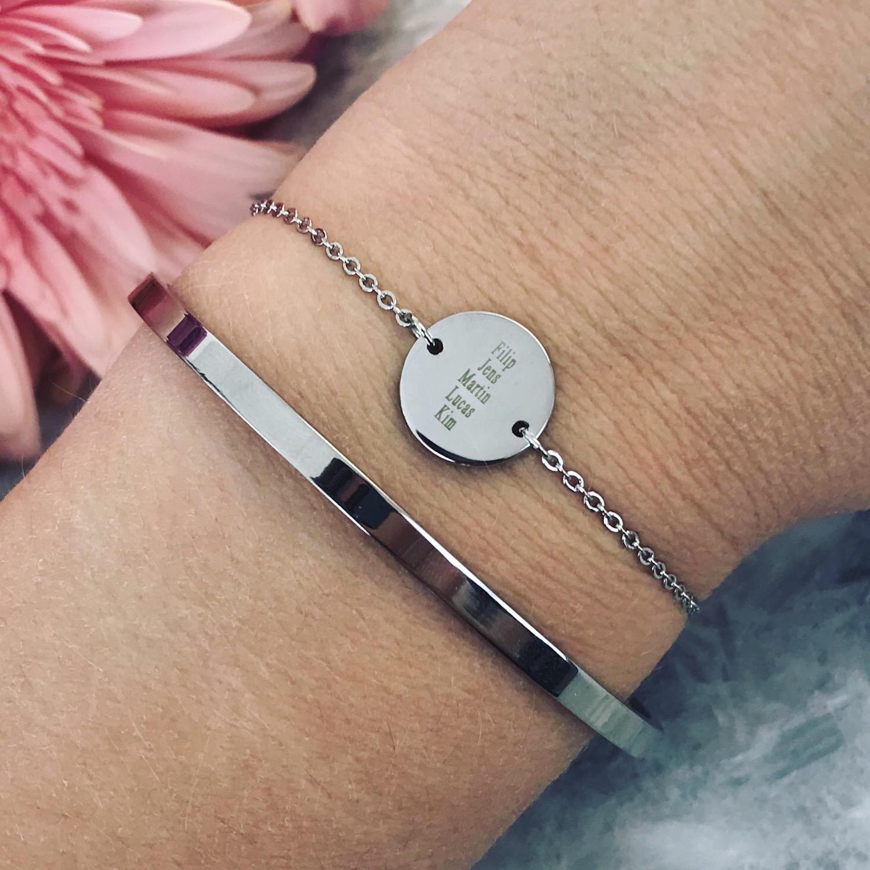 Zilveren armparty met graveerbare armband en bangle
