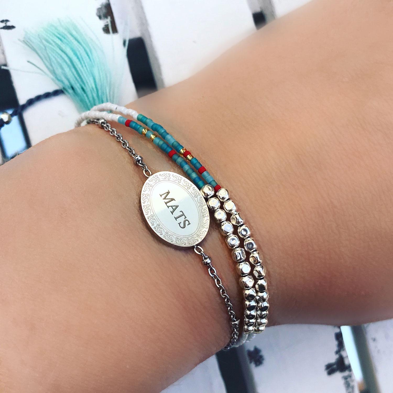 GRaveerbare armband samen met ibiza armband