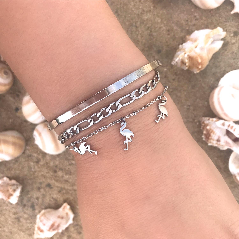 Zilveren Flamingo Armband om de pols met schelpen