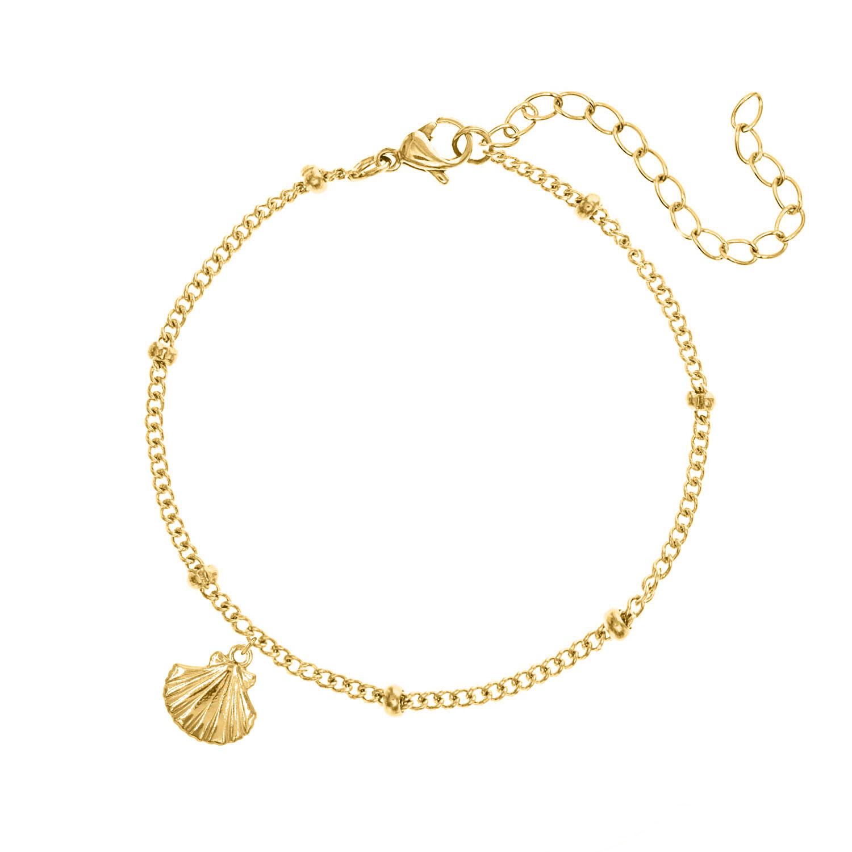 Gouden armband met schelp en bolletjes