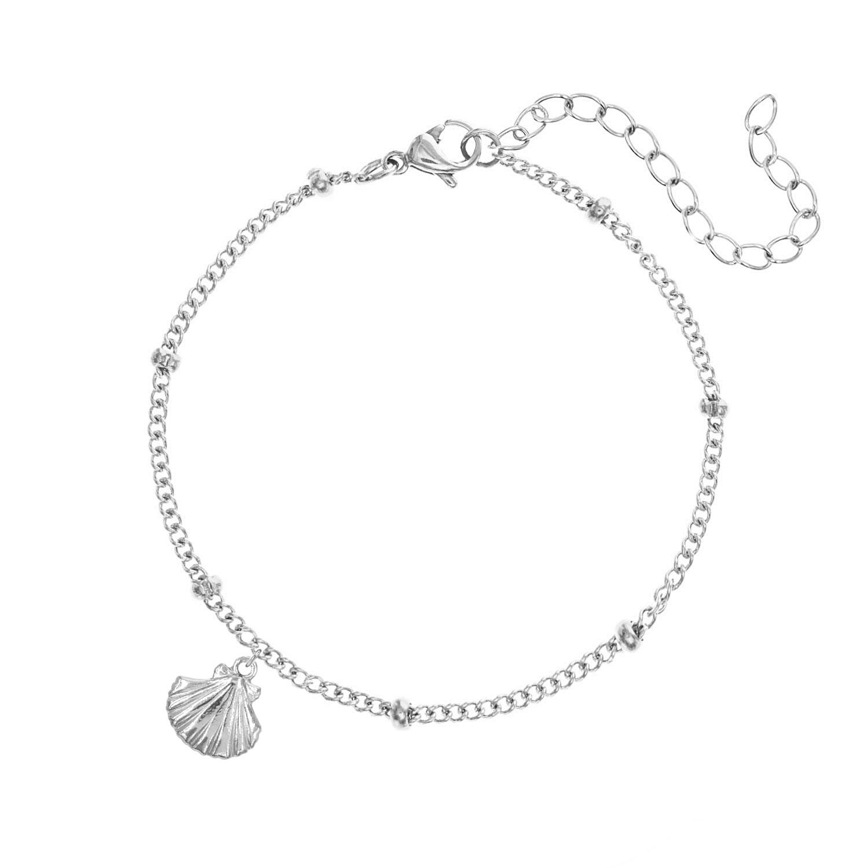 Zilveren armband met schelp en bolletjes