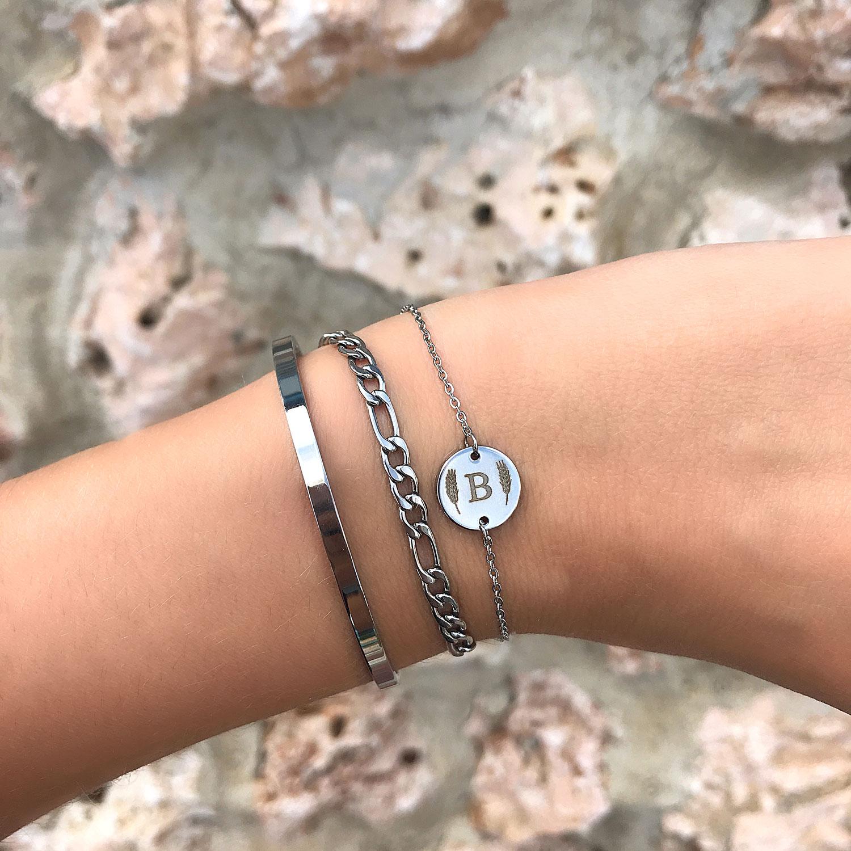 Zilveren armband om de pols met nieuwe gravering