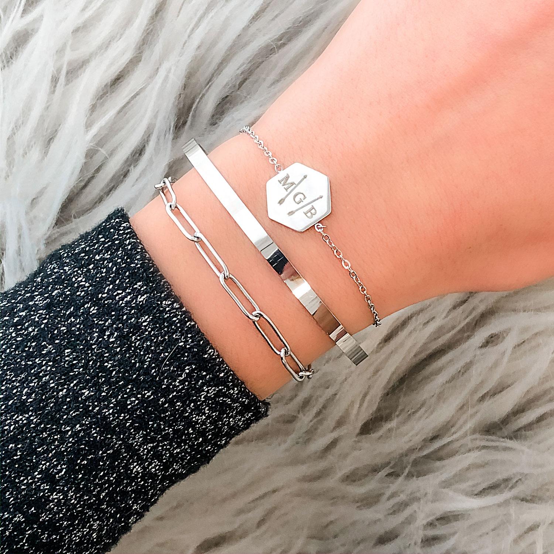 leuke zilveren schakelarmband voor om de pols