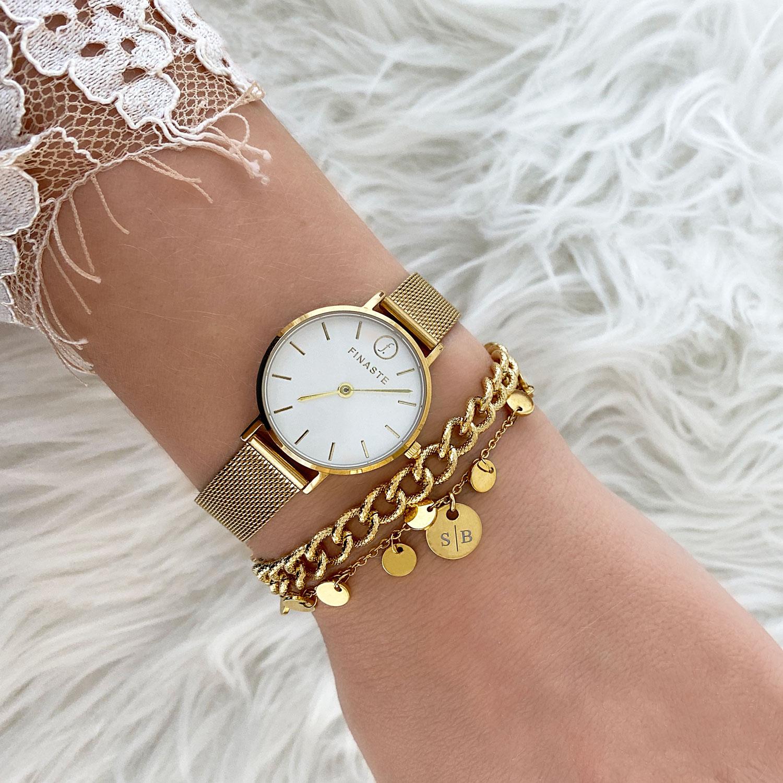 Gouden armbanden met horloge
