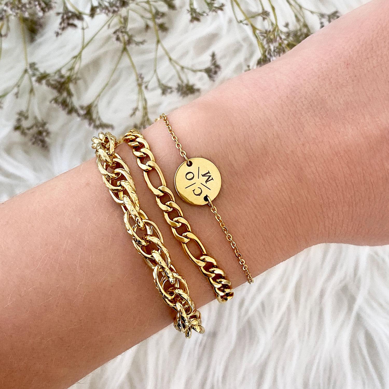 Gouden schakelarmbanden armparty combinatie