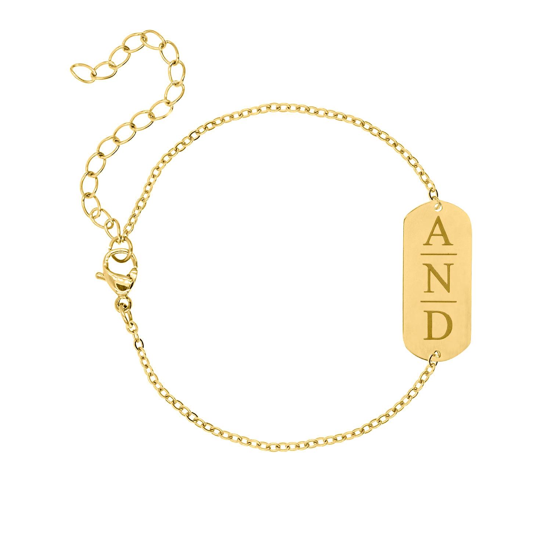 Bar armband graveren 3 letters gold plated