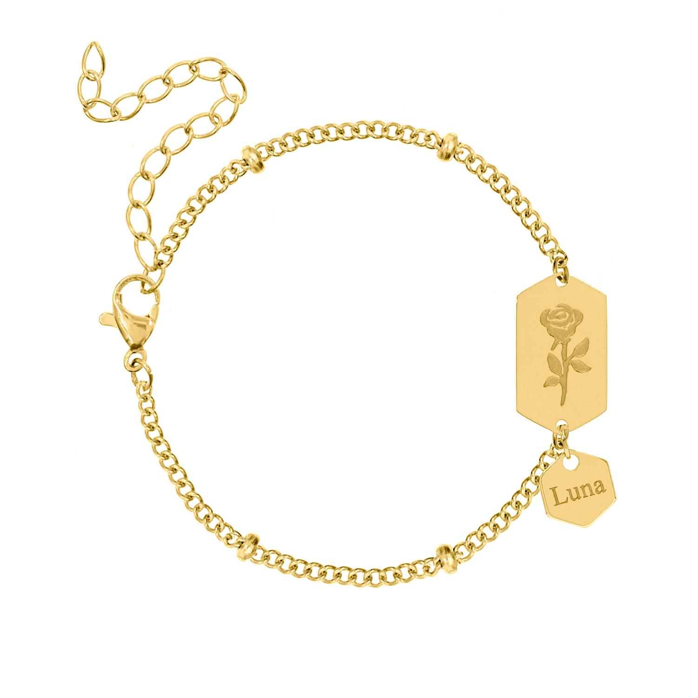 Armband roosje personaliseren goud kleurig