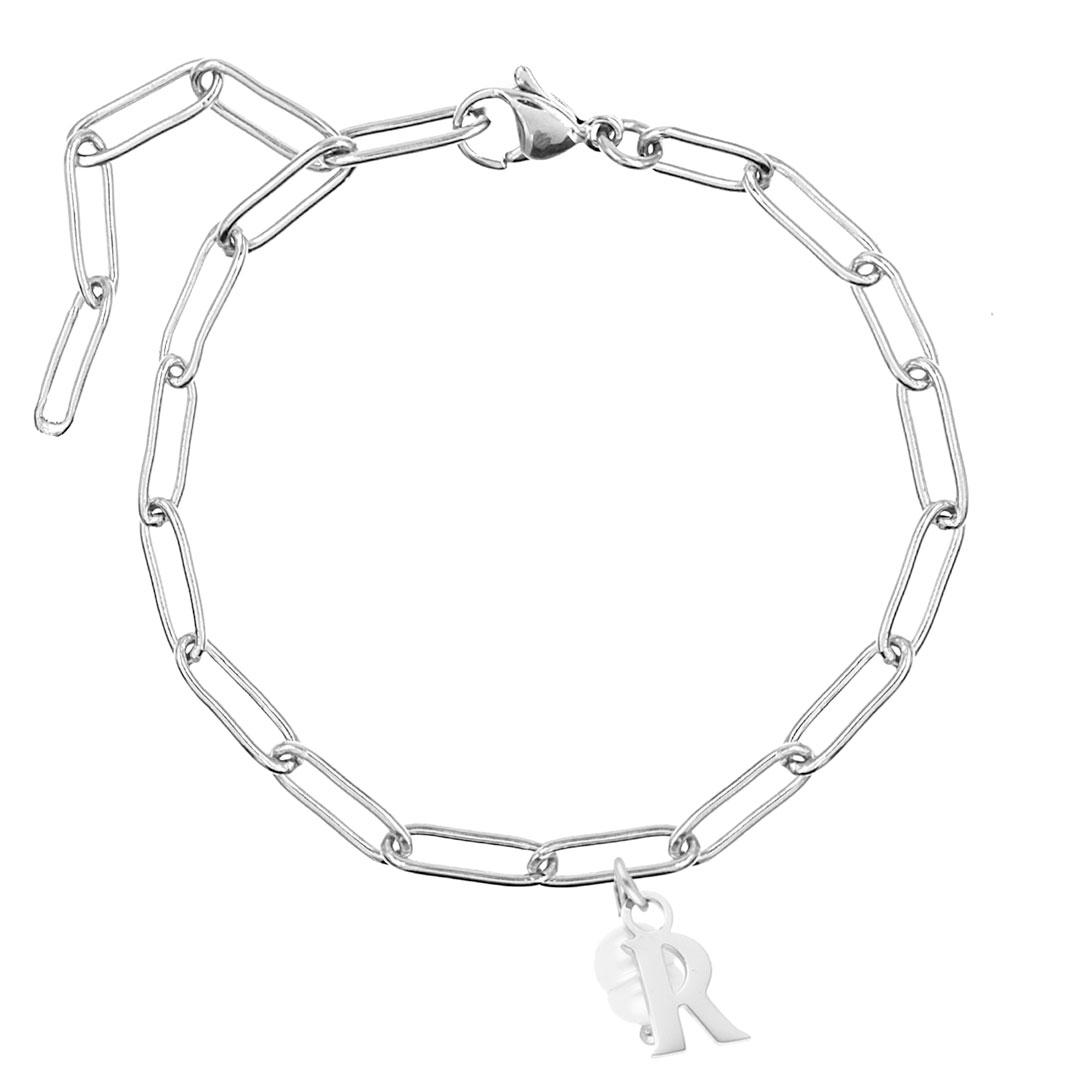 Chunky Initial armband met parel