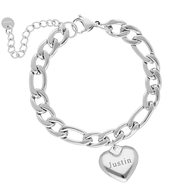 Chain armband graveerbaar hartje