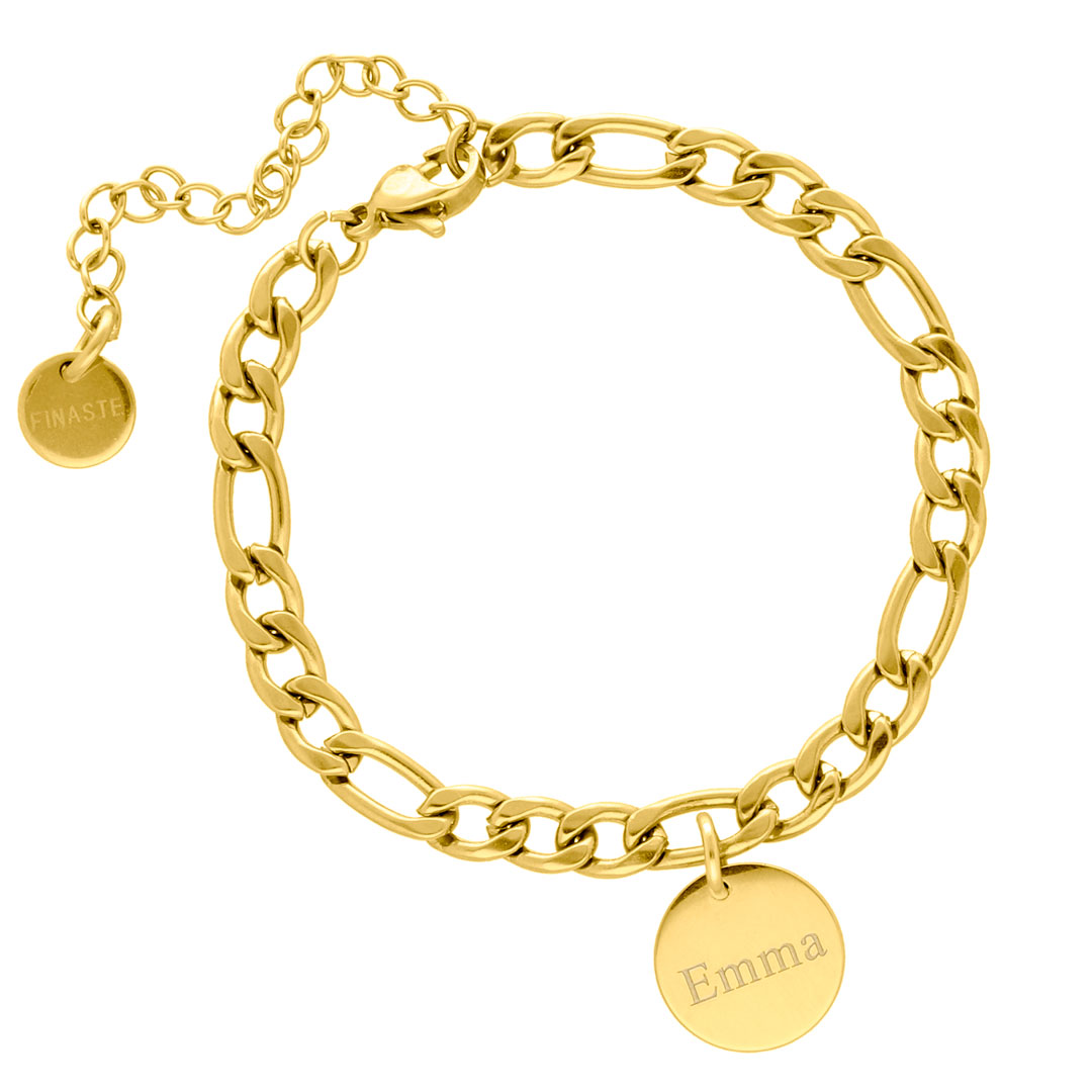 Gouden schakelarmband met graveerbare munt