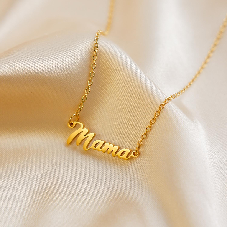 Gouden mama ketting op satijnen stof