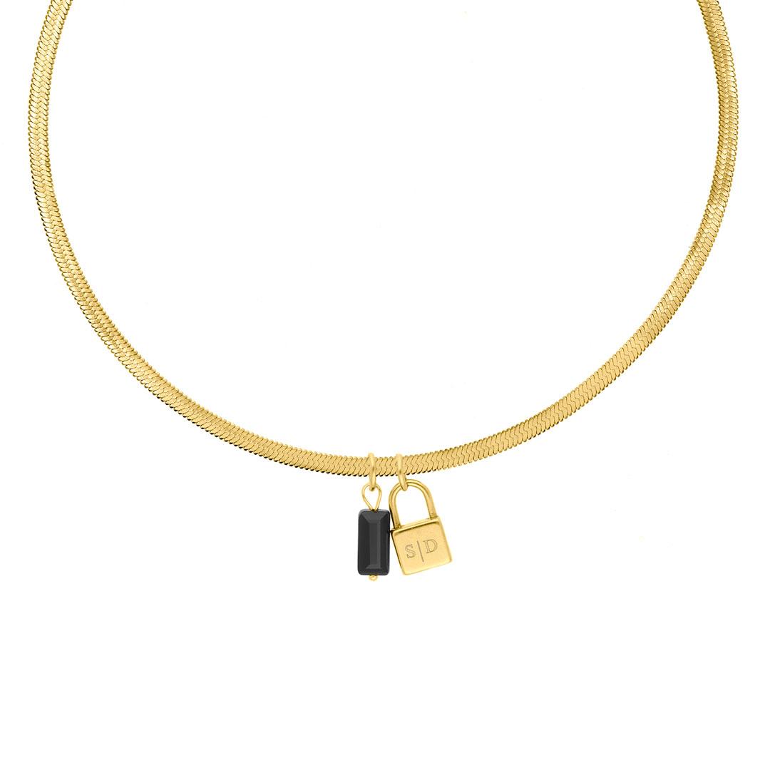 Choker ketting slotje graveren goud kleurig
