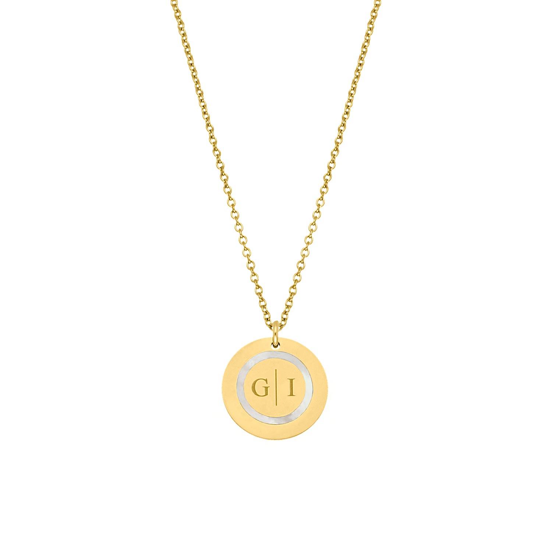 Ketting 2 initials parelmoer kleur goud