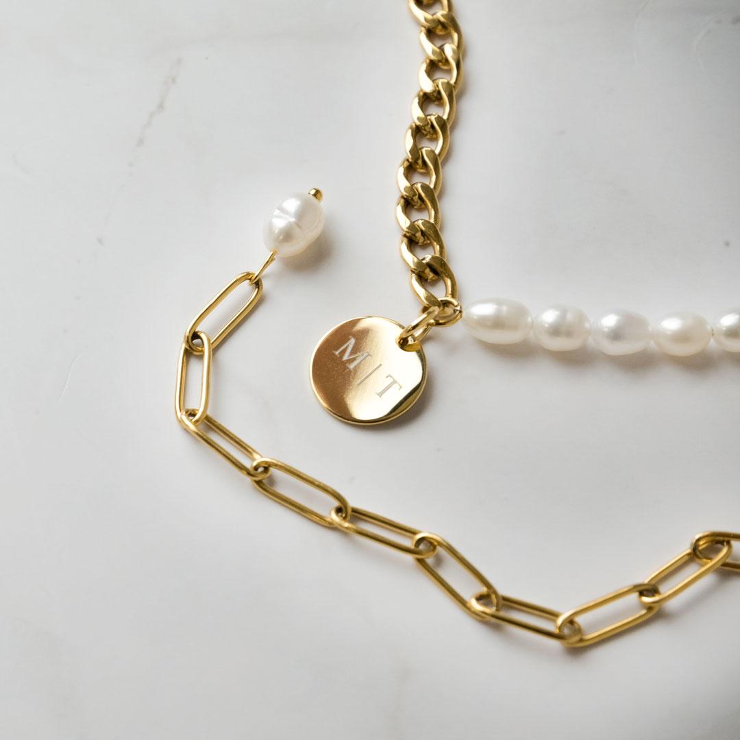 Chain & pearl ketting samen met schakelketting