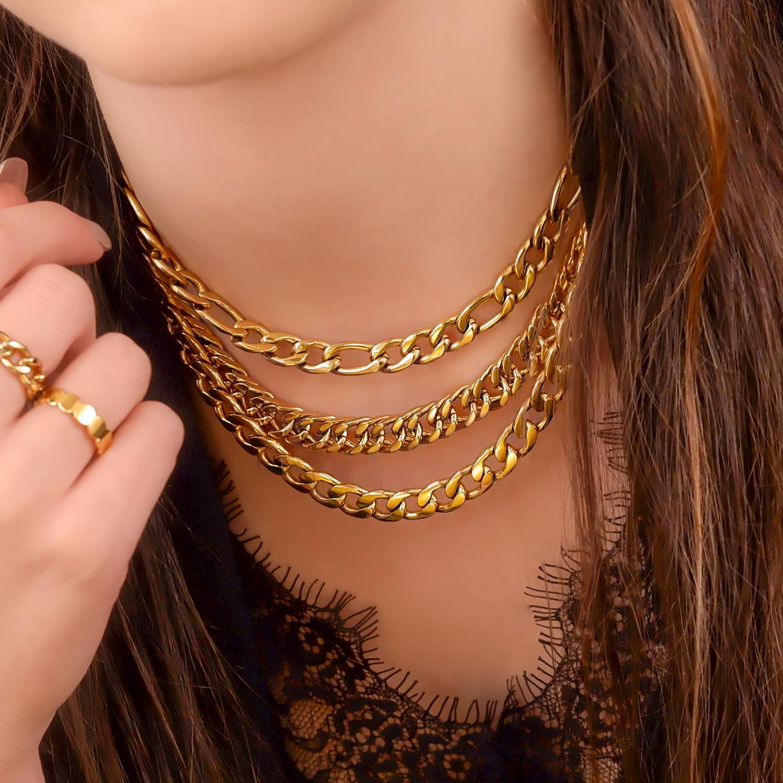 Gouden chain kettingen om te mixen & matchen met elkaar