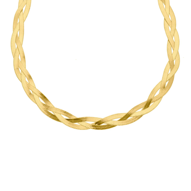 Platte ketting gevlochten goud kleurig