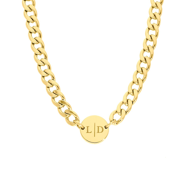 Ketting chunky 2 initials kleur goud