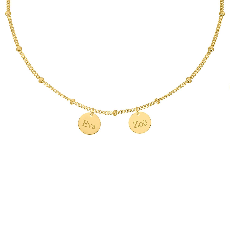 Gepersonaliseerde ketting 2 muntjes kleur goud