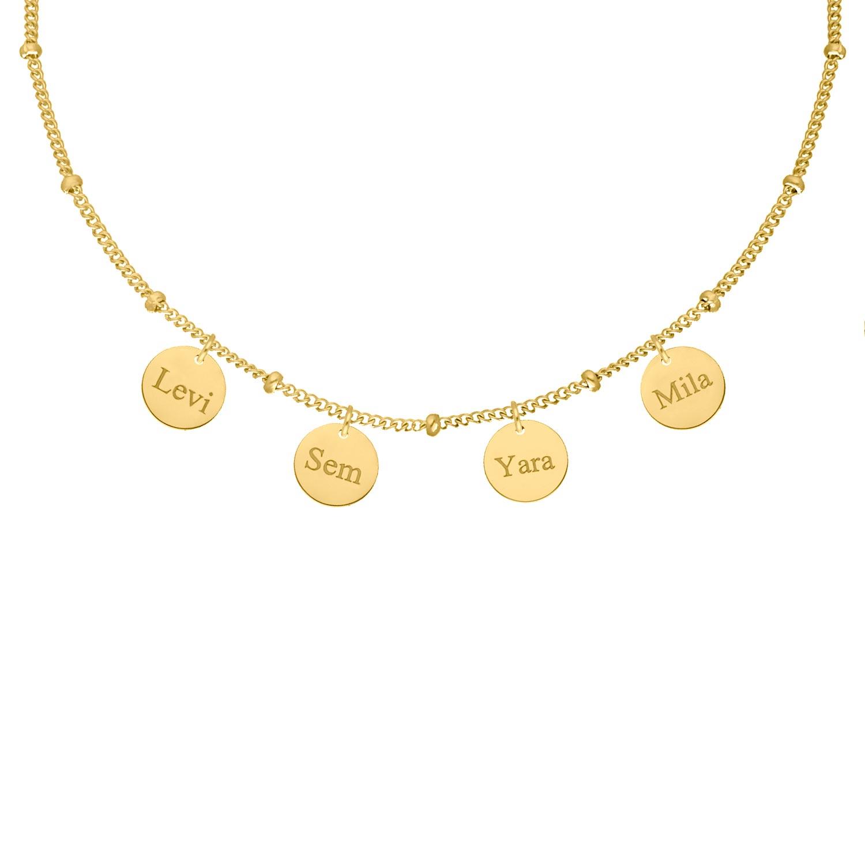Ketting met namen 4 muntjes goud kleurig