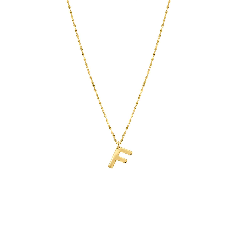 Gouden ketting met F initial
