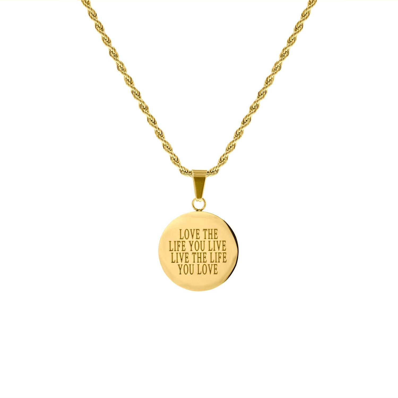 Gedraaide ketting met graveerbare ronde hanger goud