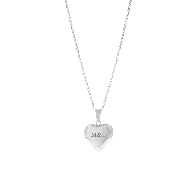 Zilveren graveerbare ketting met hart