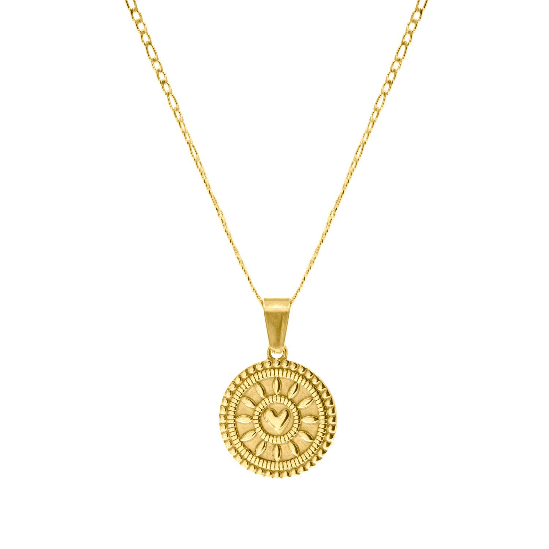 Gouden ketting met munt en hart