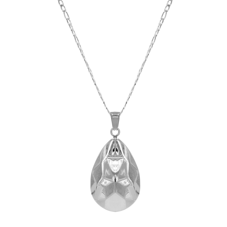 Zilveren lange ketting met druppelvormige hanger
