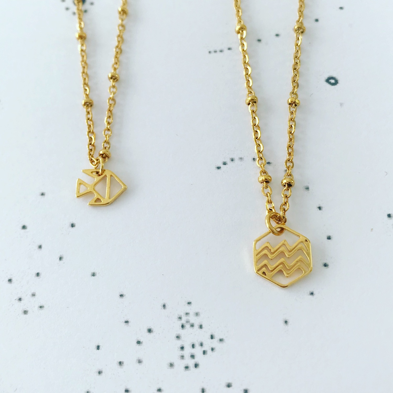Gouden kettingen met sterrenbeeld Vissen en Waterman