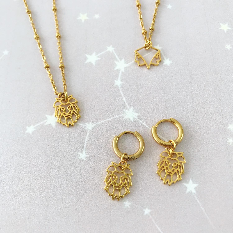Verschillende gouden sieraden op plaatje met sterrenbeeld