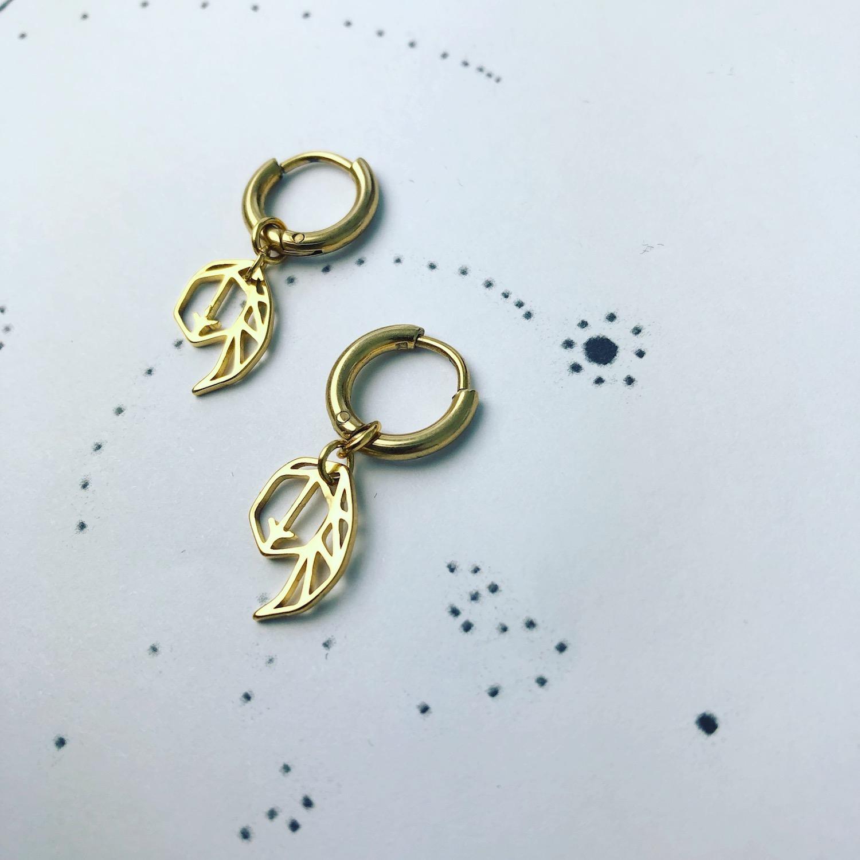 Gouden oorbellen van het sterrenbeeld Maagd
