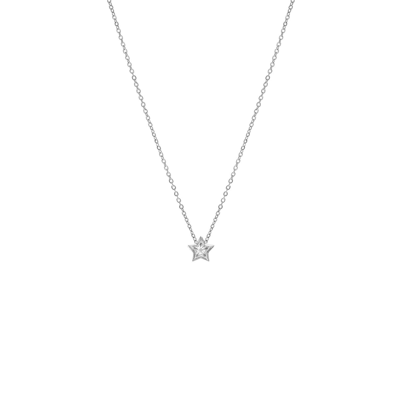 Zilveren ketting met ster en steentje
